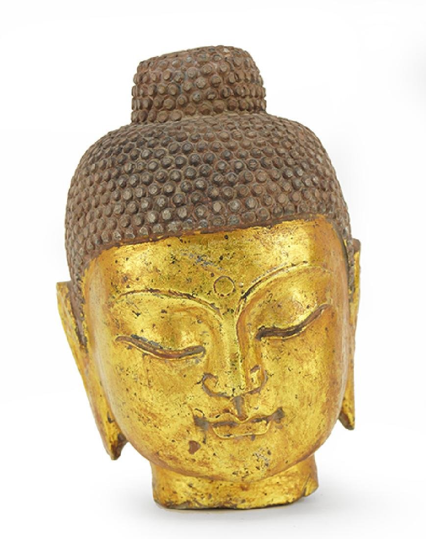A Stone Buddha Head.