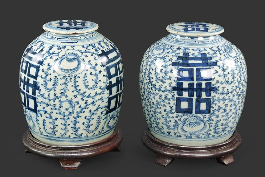 Pair of Chinese Blue and White Porcelain Covered Jars.