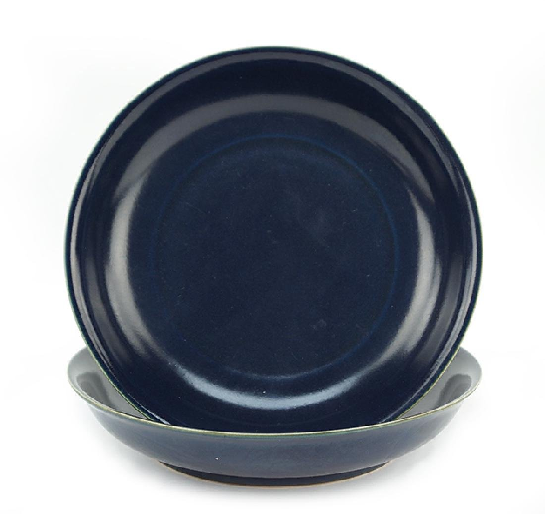 Two Chinese Cobalt Glazed Shallow Bowls.