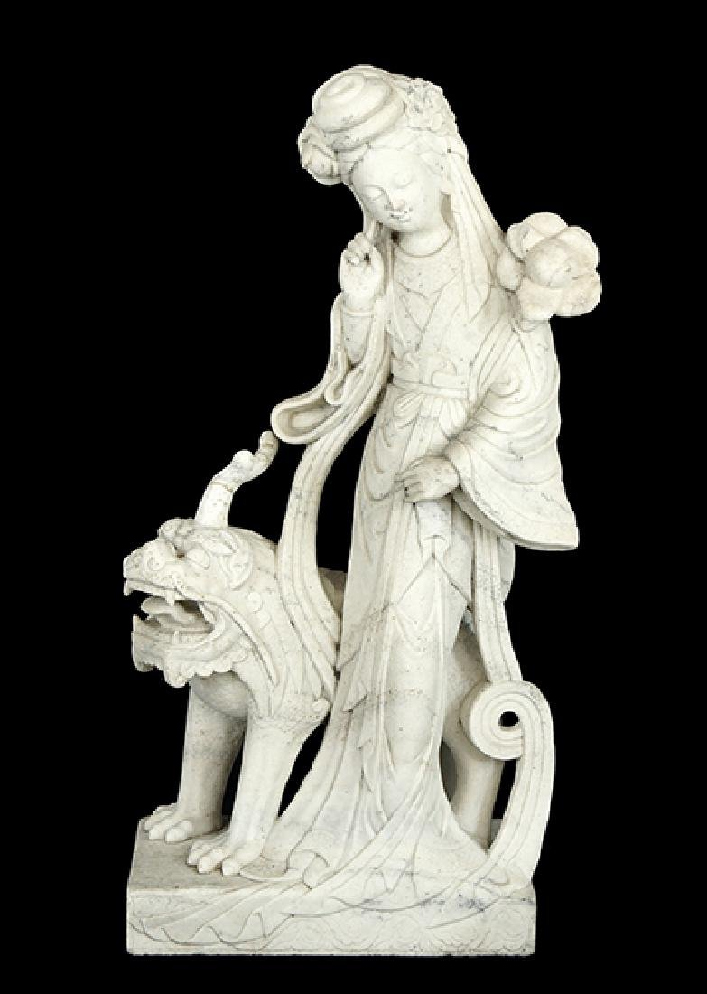 A Chinese Carved Marble Figure of Guan Yin.