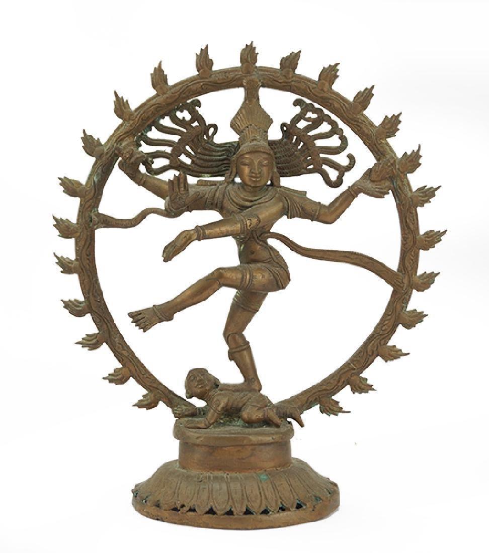 A Chinese Patinated Bronze Shiva Figure.