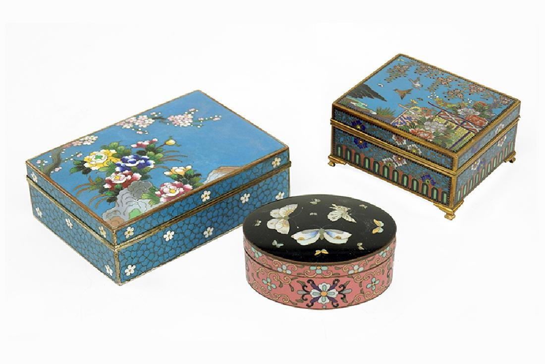 Three Chinese Cloisonne Boxes.