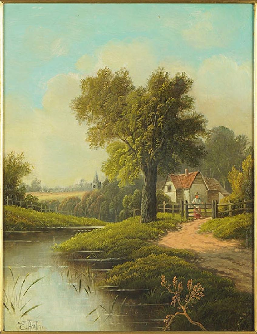 Etty Horton (British, active 1884-1918) Country Scene.