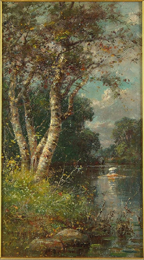H.A. Mills (American, 19th Century) Boating on the