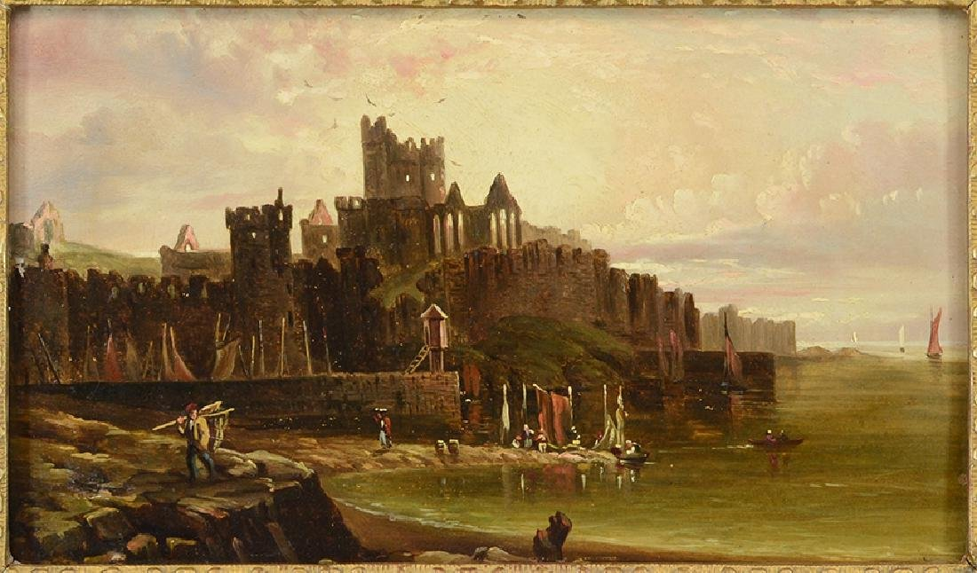 Samuel Bough (British, 1822-1872) Port with Castle