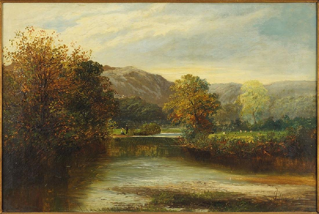 J. Ellis (British, 19th Century) Landscape with Stream.