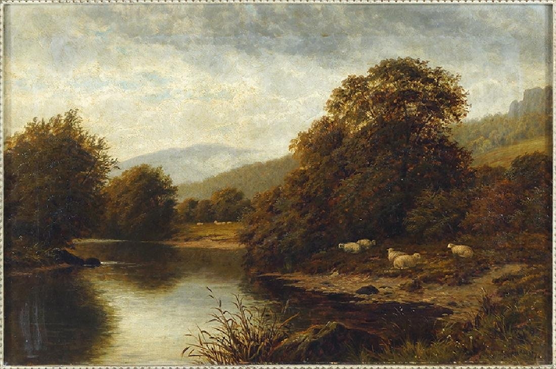 Thomas Spinks (British, Active 1880-1907) A Riverscape.