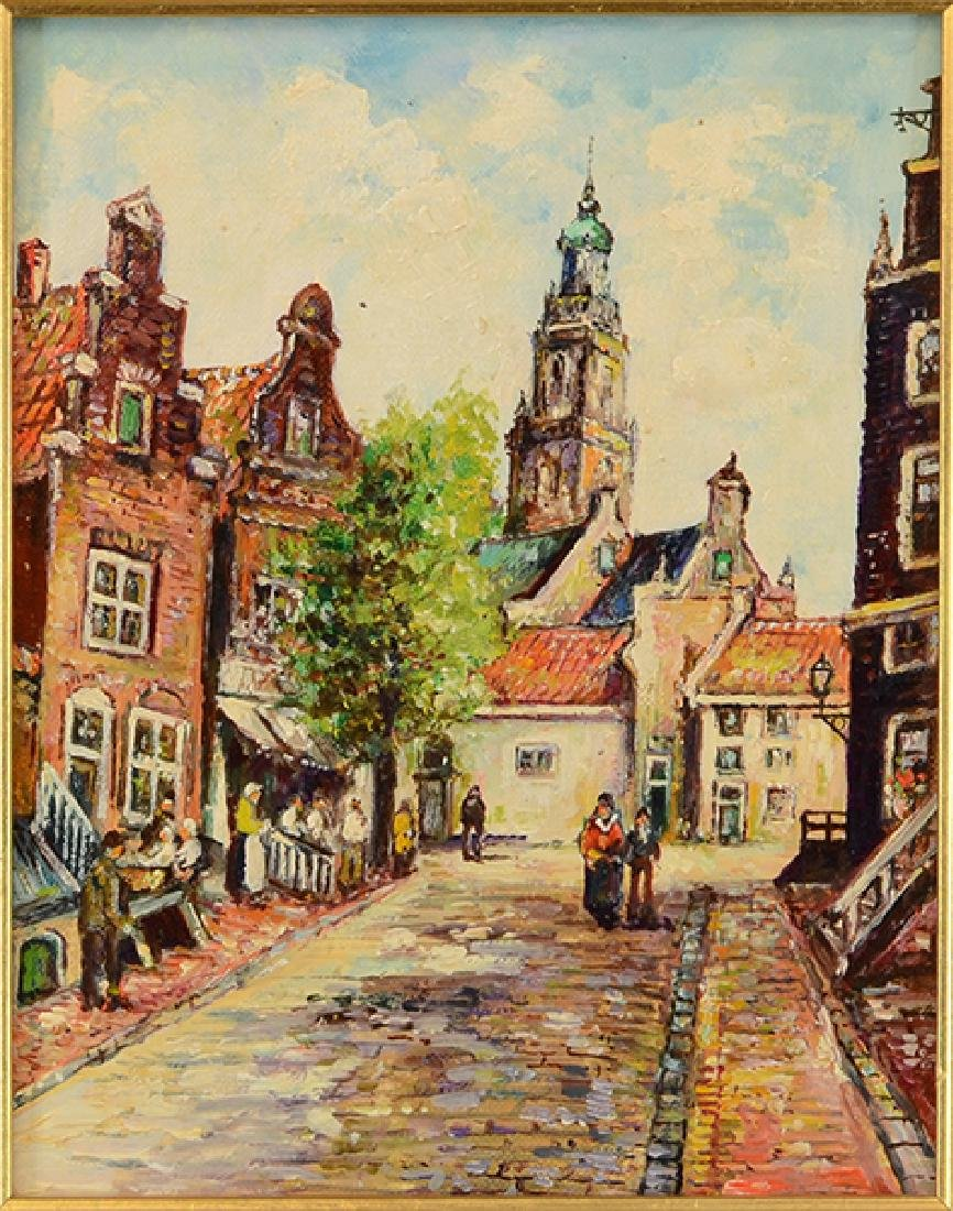 Artist Unknown (Dutch, 20th Century) Street Scene.