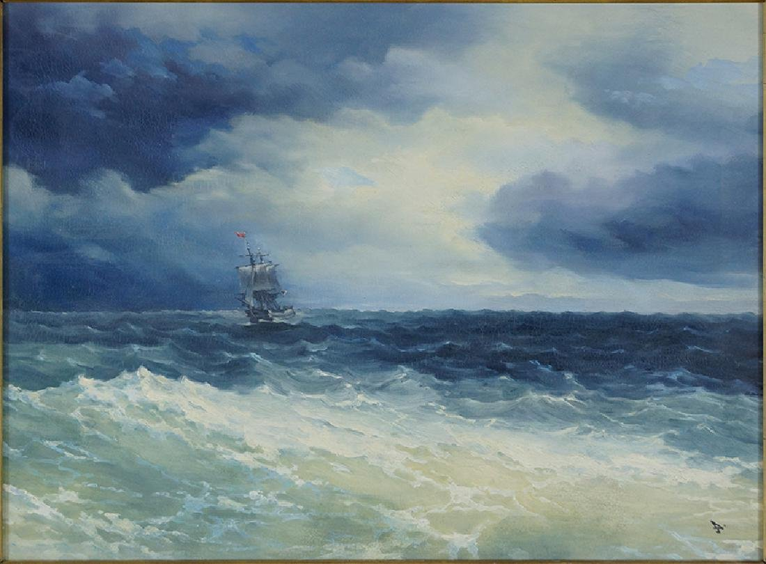 Ivan Aivazovsky (Russian, 1817-1900) Ship at Sea.