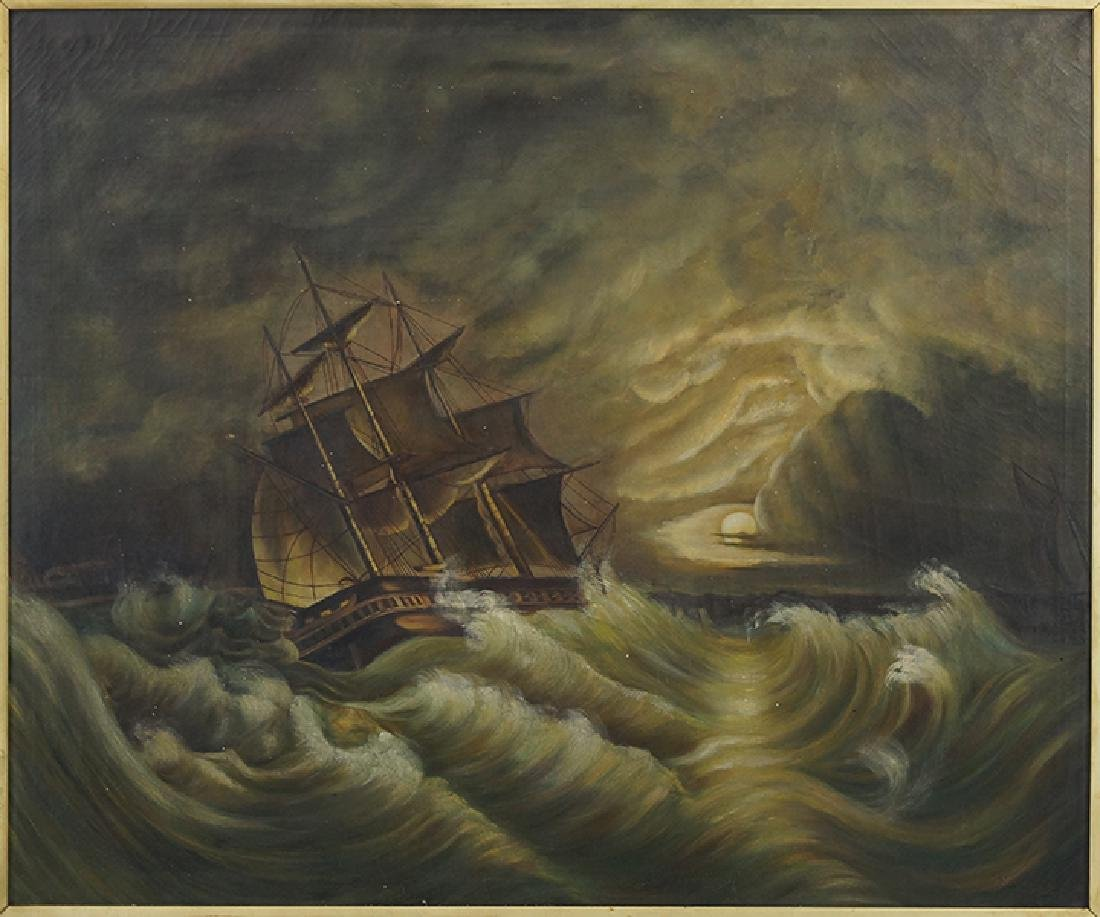 Marie (French, 19th-20th Century) Ship In A Storm.