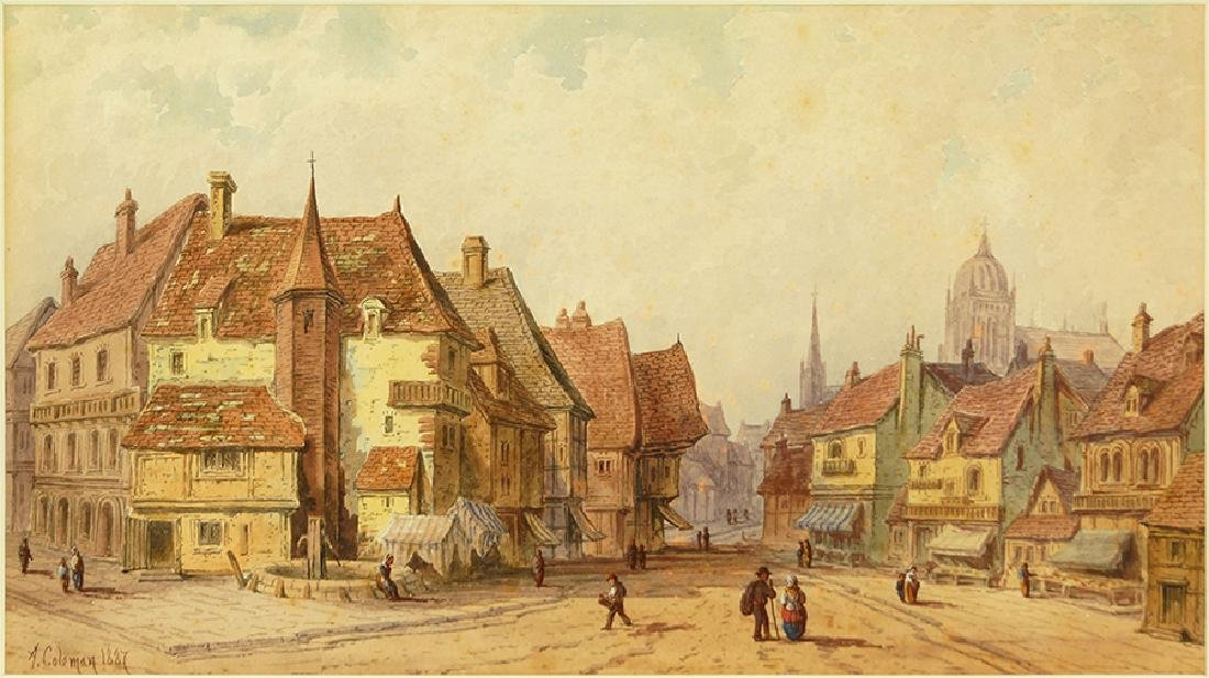 A. Coleman (British, 19th Century) A Town Scene.