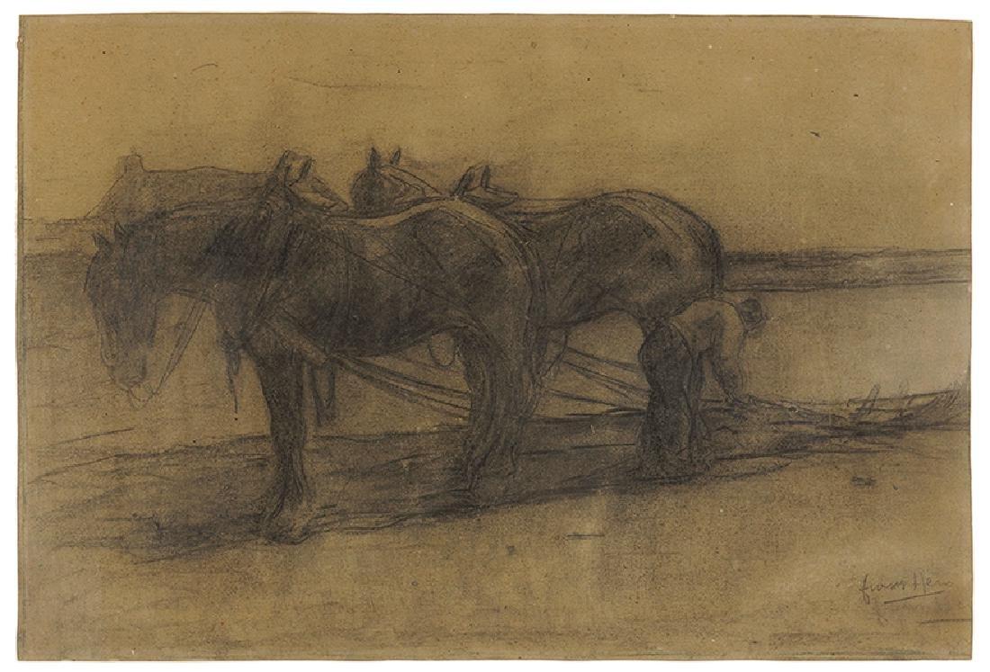 Frans Hens (Belgian, 1856-1928) Plough Horses.