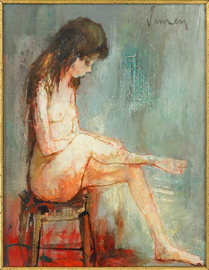 Jean Jansem (Armenian/French, 1920-2013) A Seated Nude.