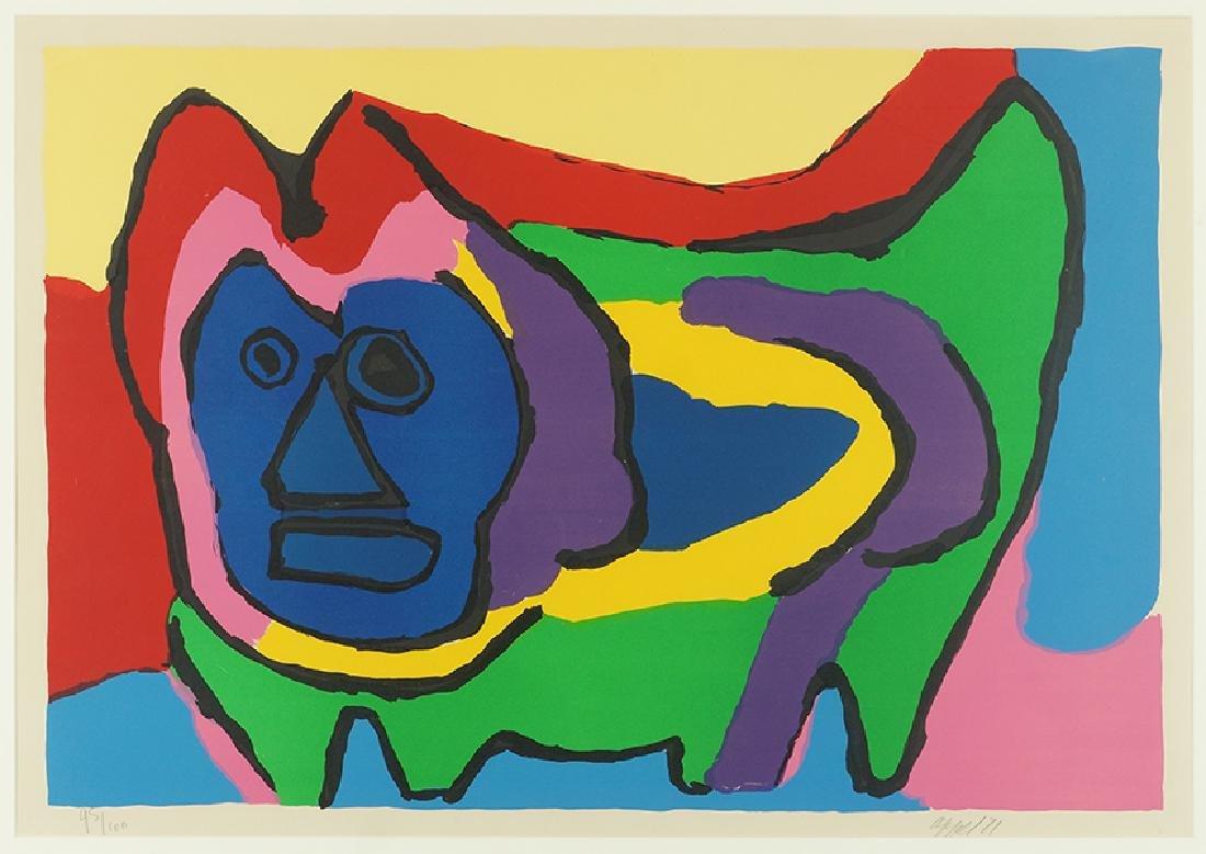 Karel Appel (Dutch, 1921-2006) Blue Faced Figure.