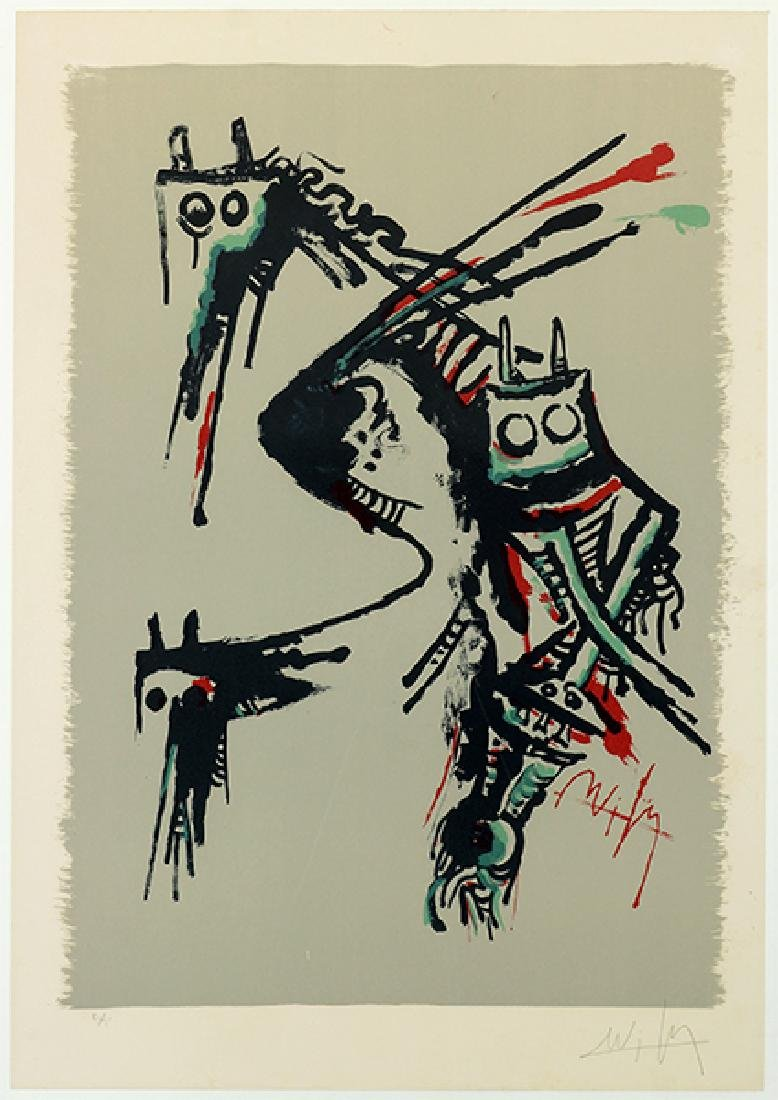 Wilfredo Lam (Cuban, 1902-1982) Untitled Abstraction.