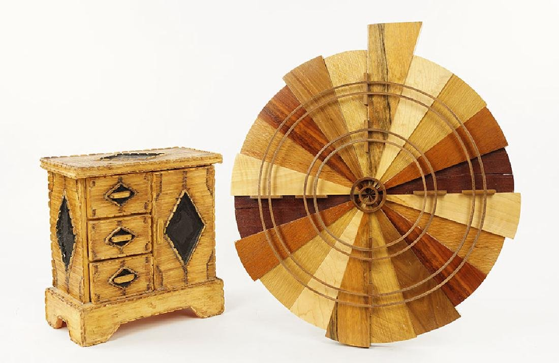 A Folk Art Matchstick Cabinet.