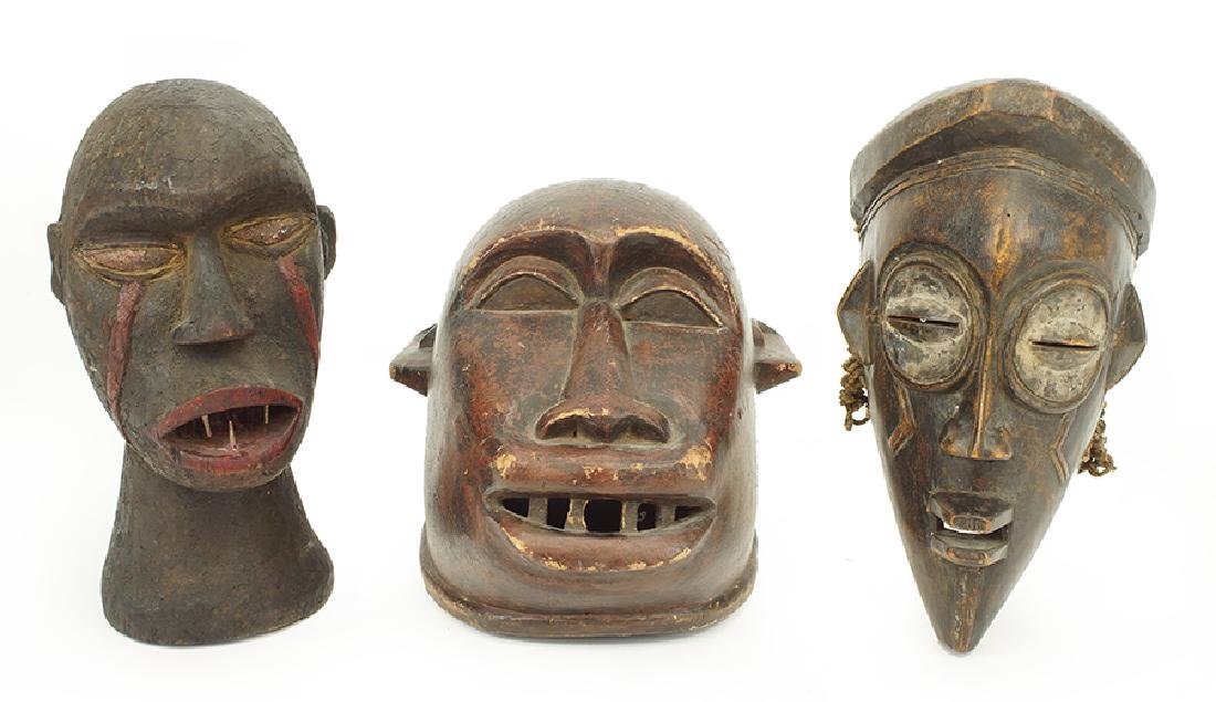 Two Carved Wood African Masks.
