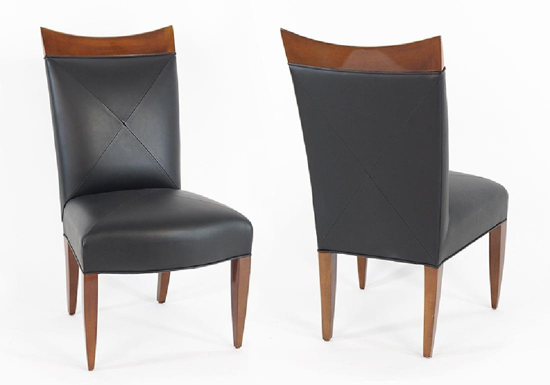A Set of Six Donghia Leather Upholstered Dining Chairs.