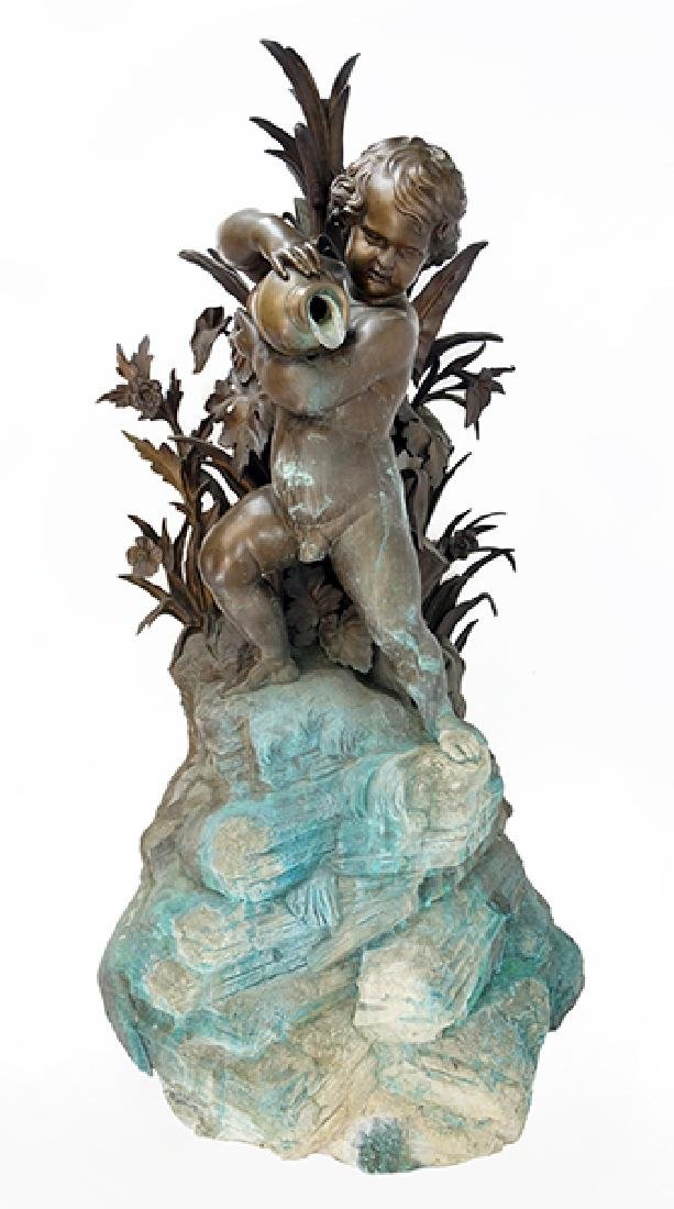 A Patinated Bronze Fountain.