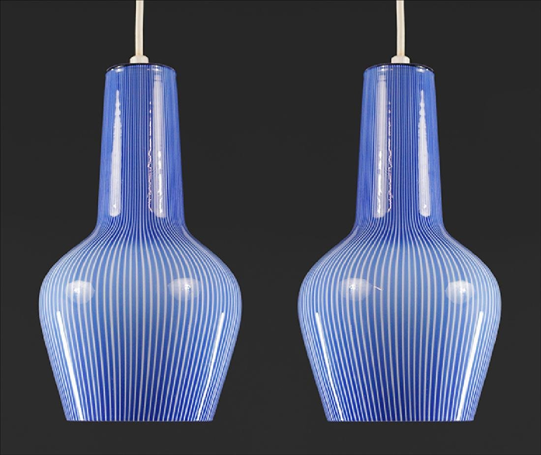 A Pair of Italian Glass Hanging Fixtures.