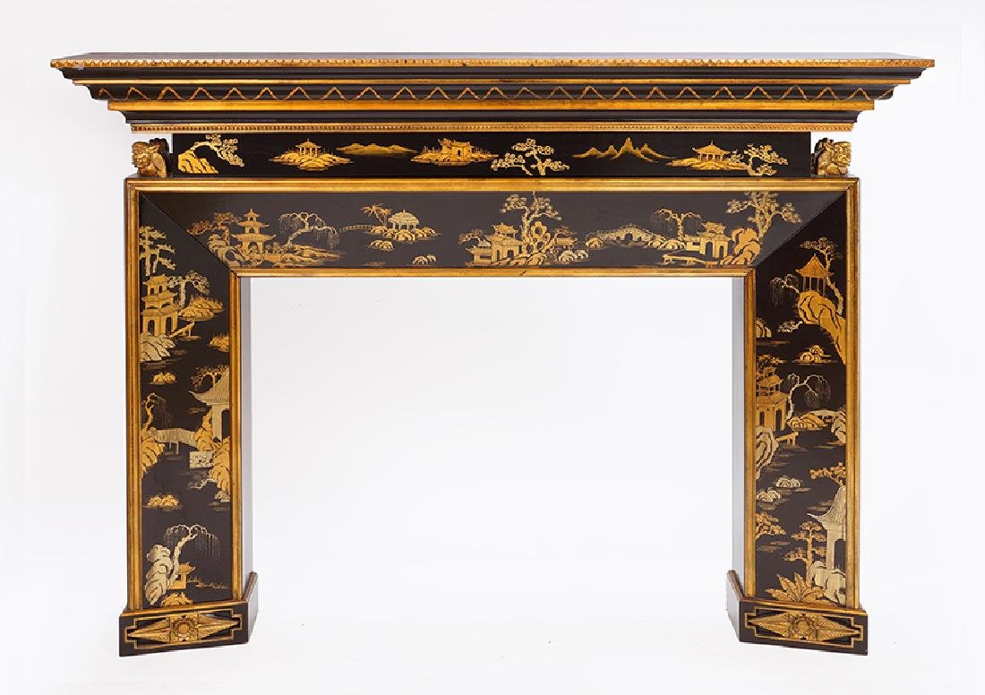 A Black Lacquer Fireplace Mantel.