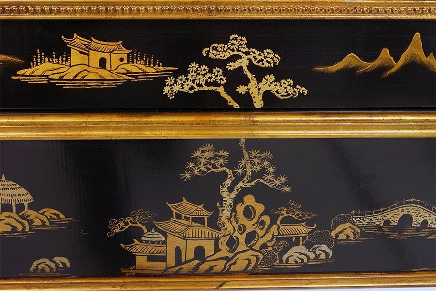 A Black Lacquer Fireplace Mantel. - 2