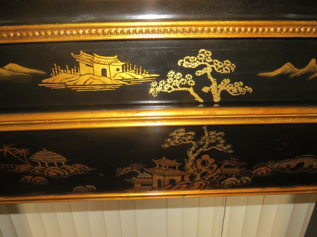 A Black Lacquer Fireplace Mantel. - 4