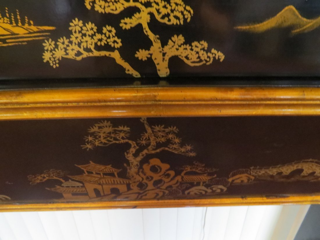 A Black Lacquer Fireplace Mantel. - 5