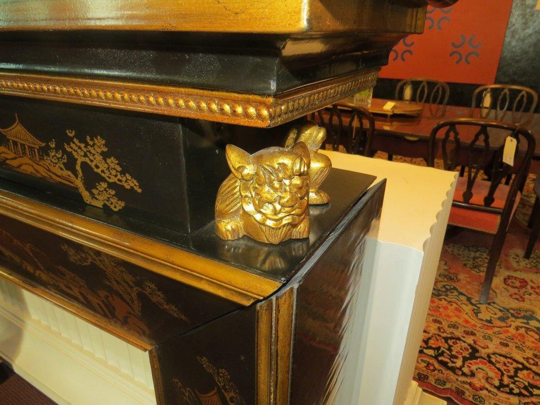 A Black Lacquer Fireplace Mantel. - 6