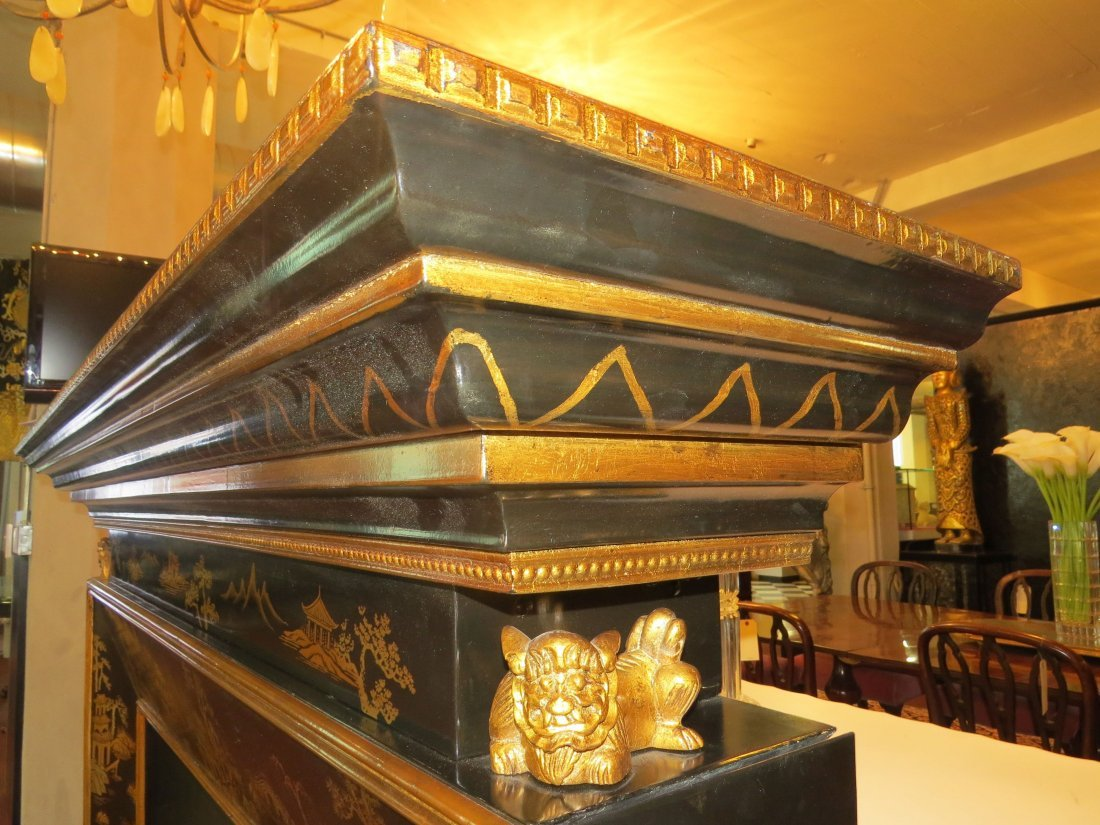 A Black Lacquer Fireplace Mantel. - 7