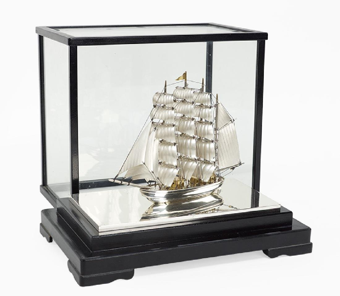 A Sterling Silver Model Ship.