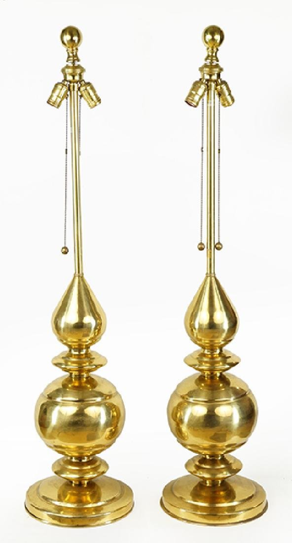 A Pair of Marbro Brass Table Lamps.