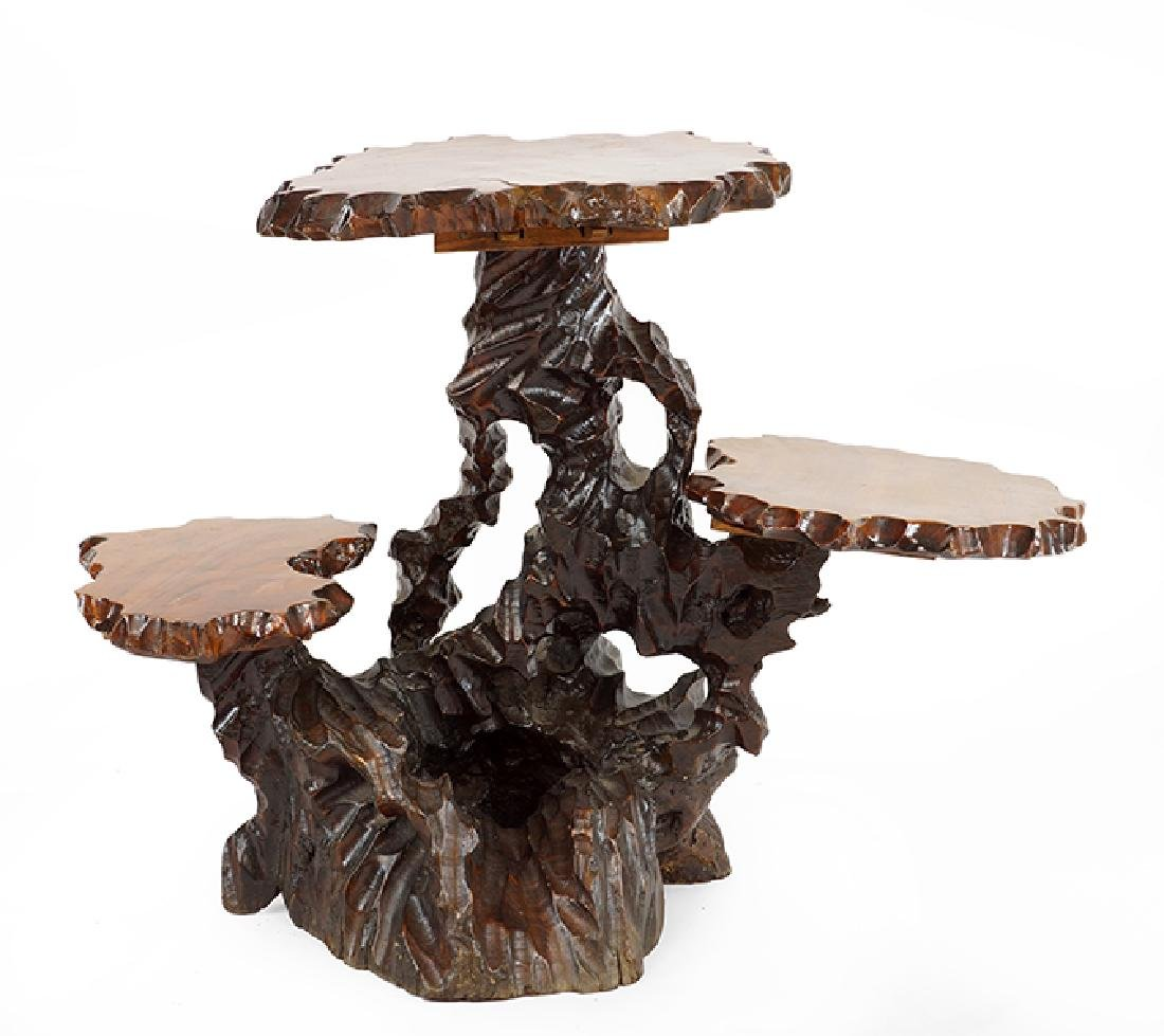 A Gnarled Wood Plant Stand.