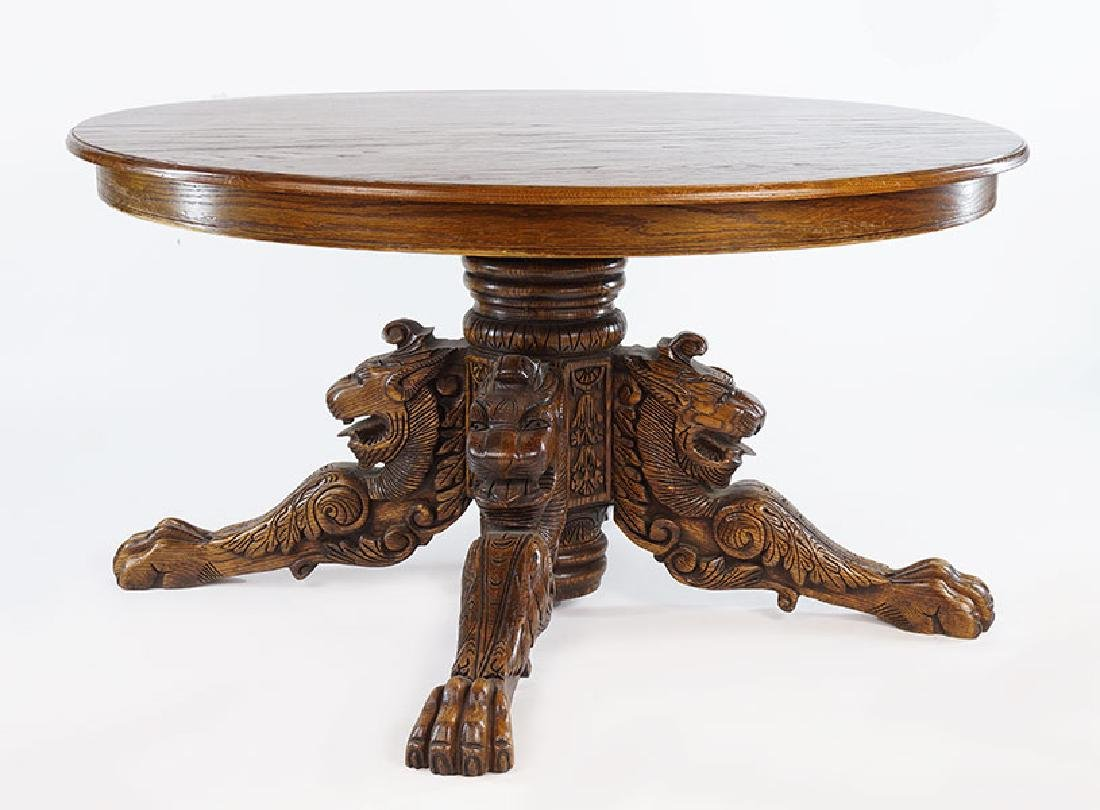 A Carved Oak Table.