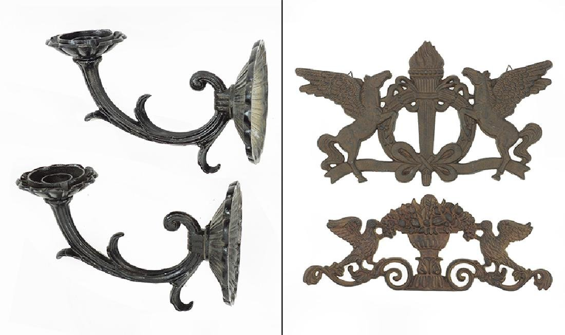 A Pair of Painted Metal Brackets.