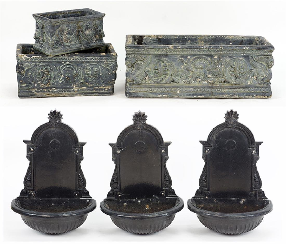 A Set of Three Painted Metal Lavabo.