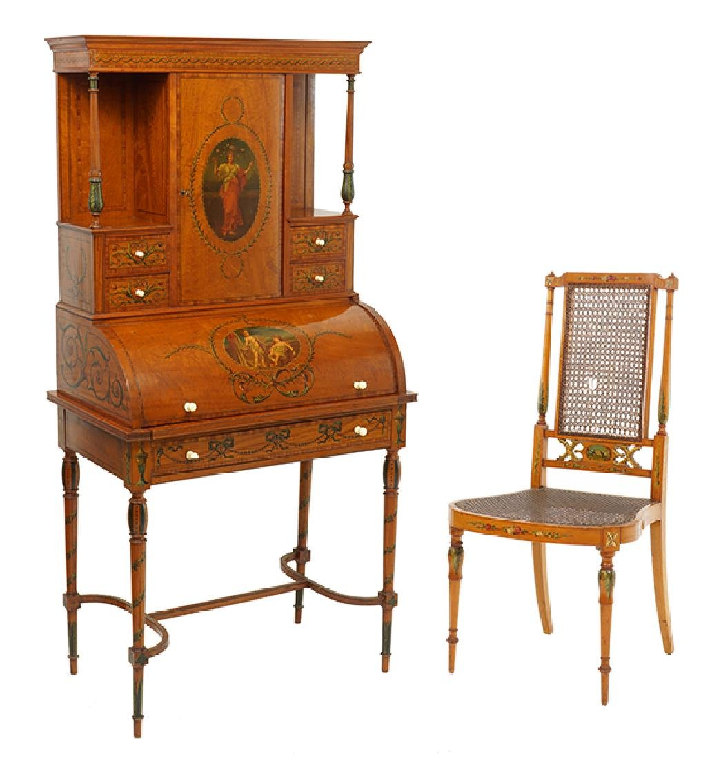 A Neoclassical Style Roll Top Secretary Desk.