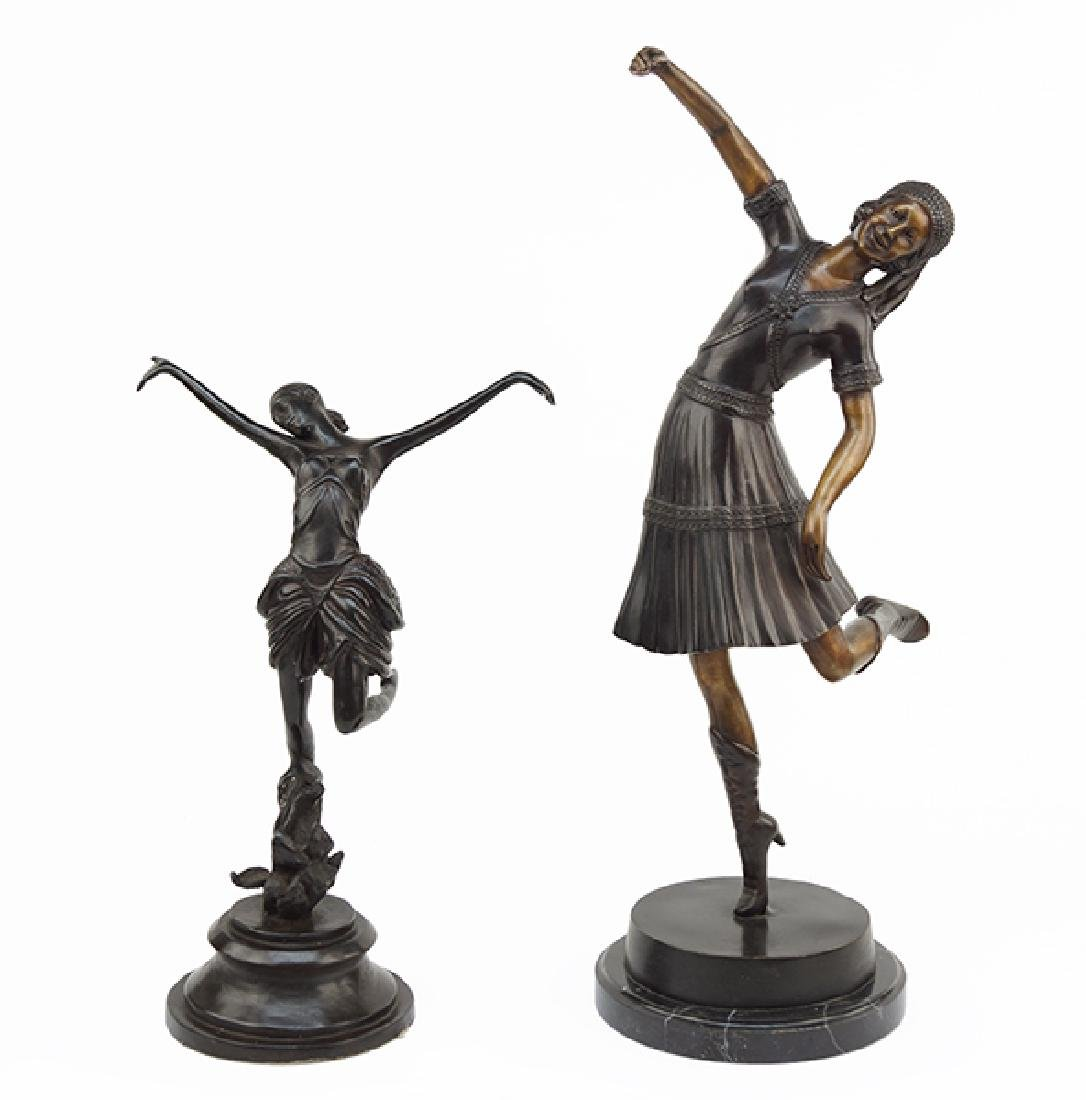 Two Patinated Metal Figures.