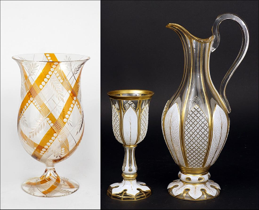A Loetz Clear and Amber Colored Glass Vase.