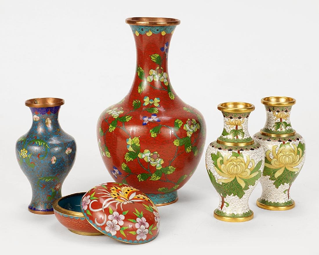 A Collection of Four Cloisonne Vases.