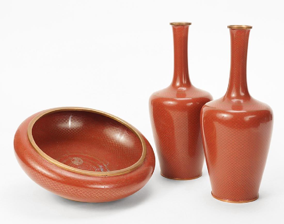 A Pair of Cloisonne Vases.