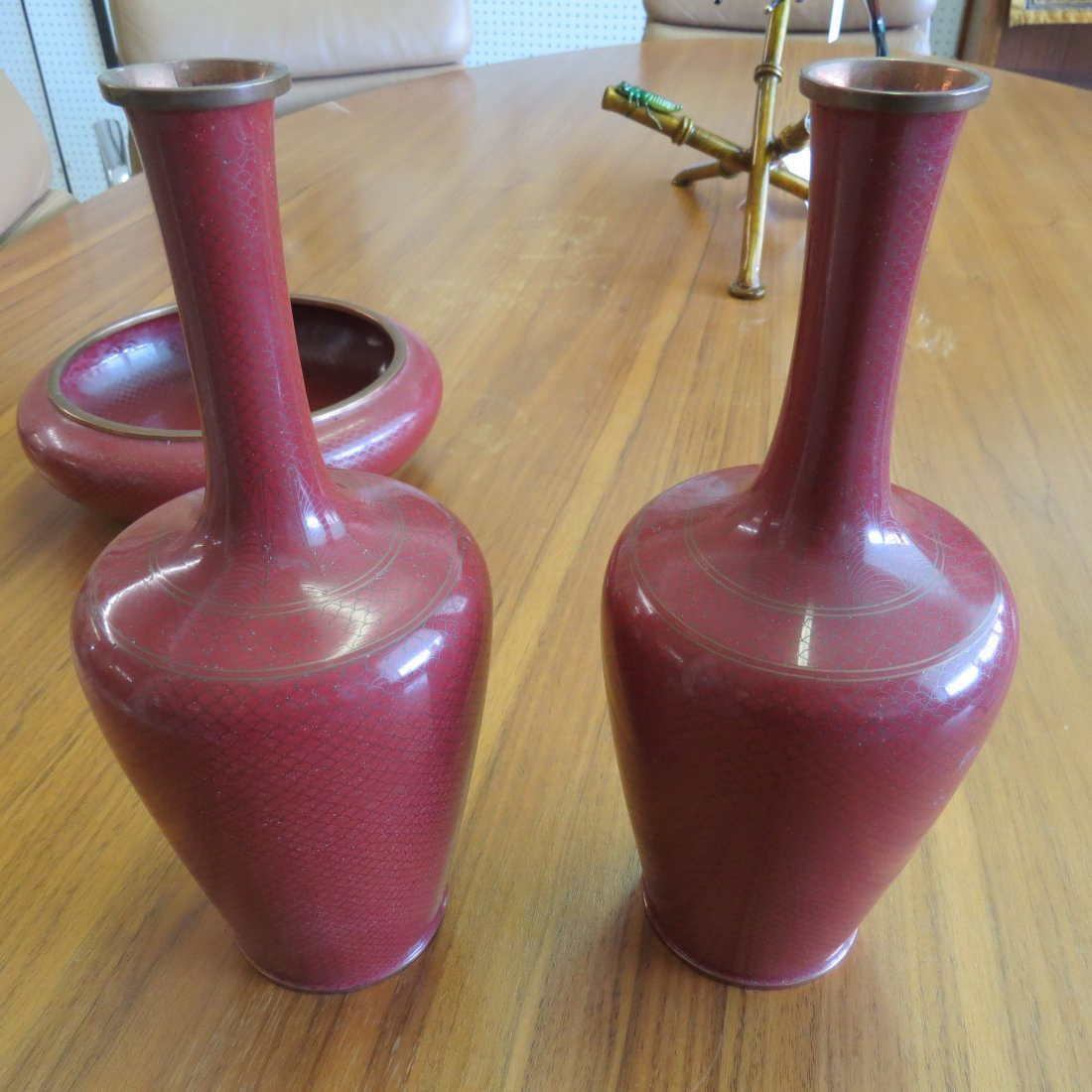 A Pair of Cloisonne Vases. - 5