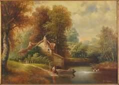 George Harris (British, 20th Century) Riverside