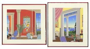 Thomas McKnight (American, B. 1941) Interiors.