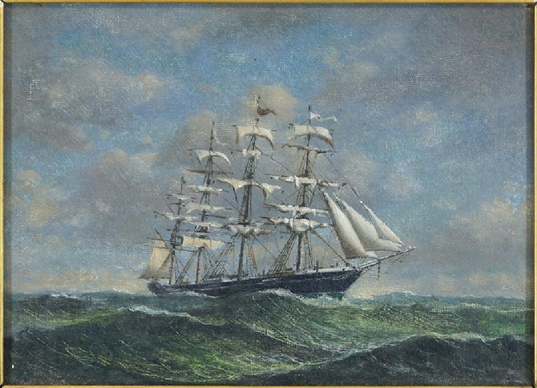Artist Unknown (British, 19th Century) Ship at Sea.