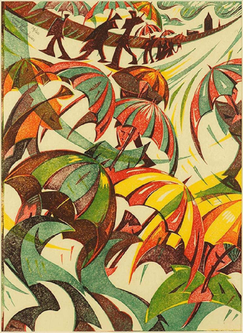 Gary Ratushniak (Canadian, B. 1958) Umbrellas.