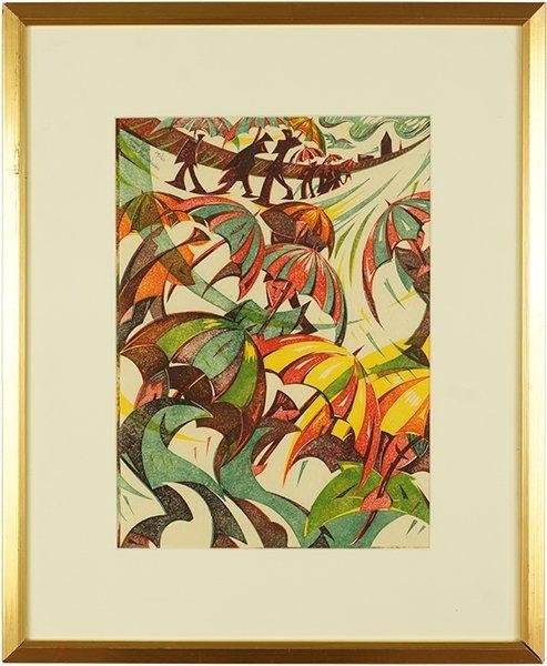 Gary Ratushniak (Canadian, B. 1958) Umbrellas. - 2