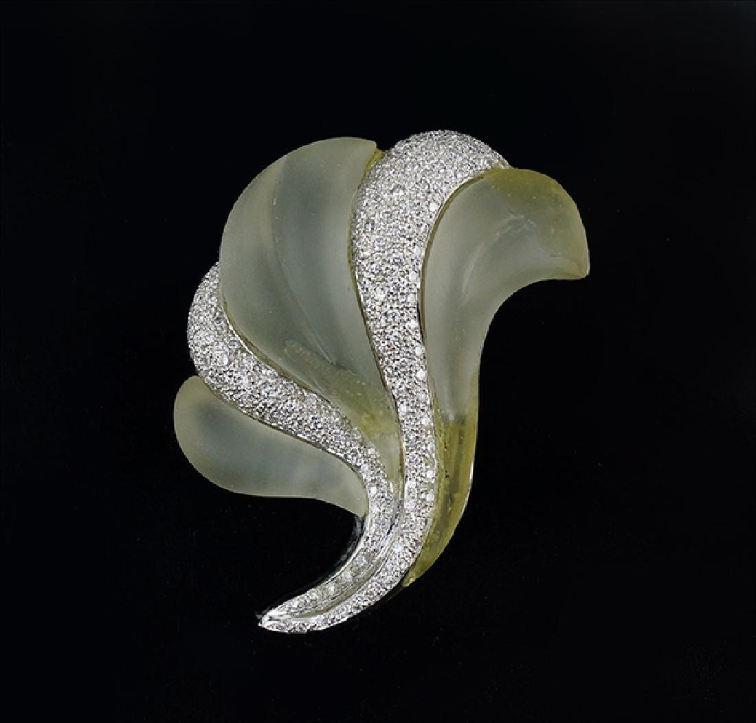 A Rock Crystal and Diamond Clip / Brooch.