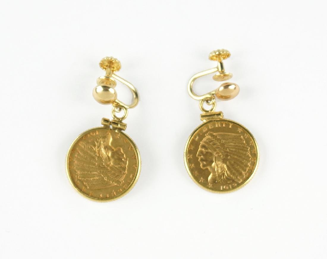 A Pair of Gold Coin Earrings.
