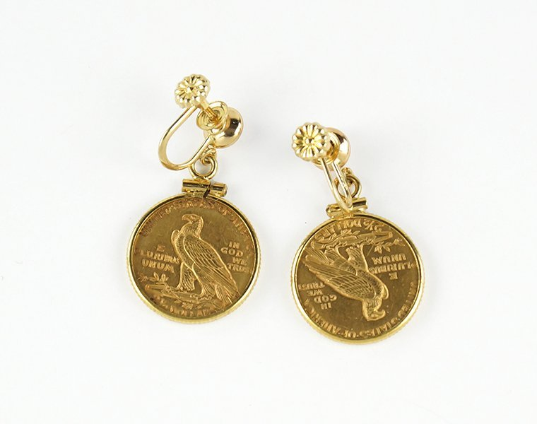 A Pair of Gold Coin Earrings. - 2